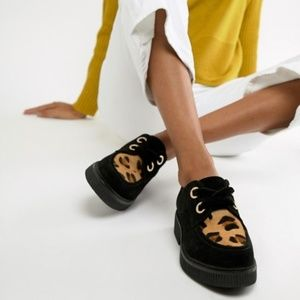 ASOS DESIGN Margo Suede Leopard Chunky Creeper NEW